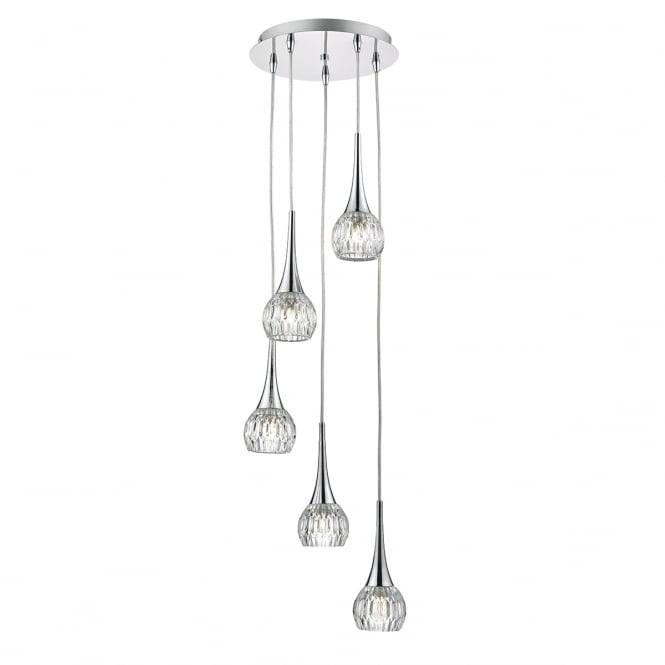LYALL modern 5 light cluster pendant in chrome with cut glass style shades