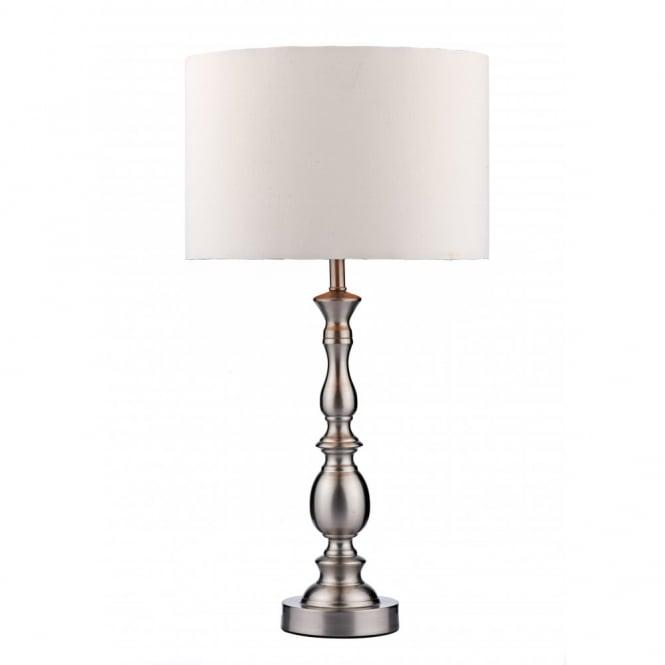 Traditional or modern satin chrome table lamp white shade madrid satin chrome table lamp white faux silk shade aloadofball Images