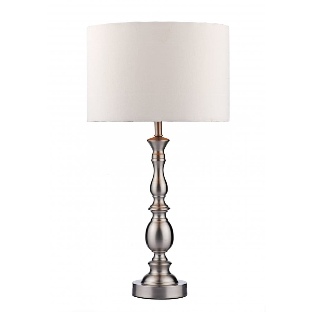 Traditional Or Modern Satin Chrome Table Lamp White Shade