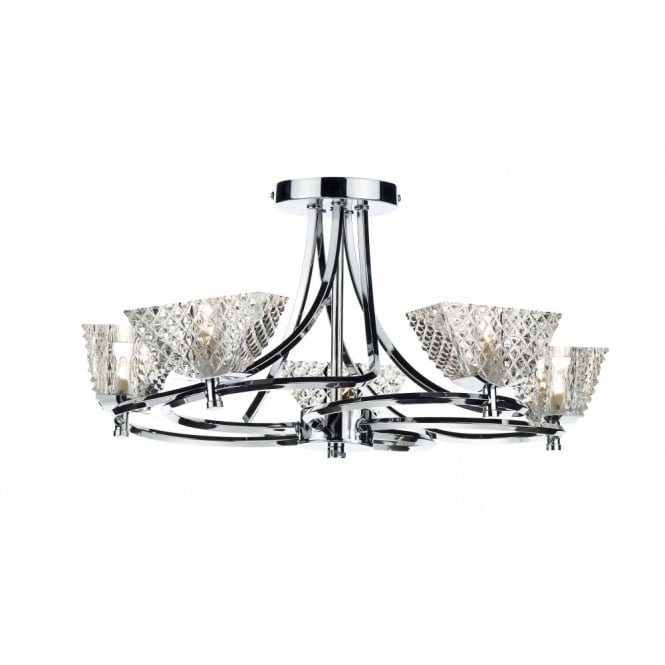 The Lighting Book MAESTRO semi flush chrome ceiling light 5lt
