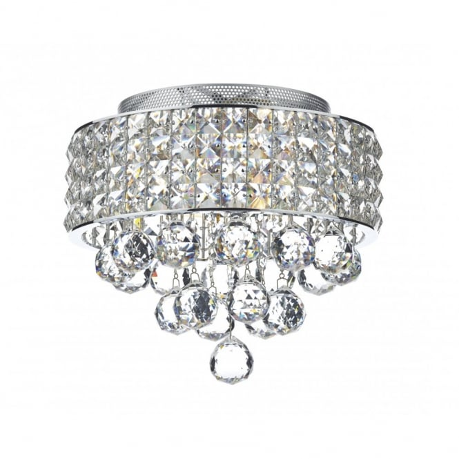 MATRIX 3lt Flush Chrome U0026 Crystal Glass Ceiling Light
