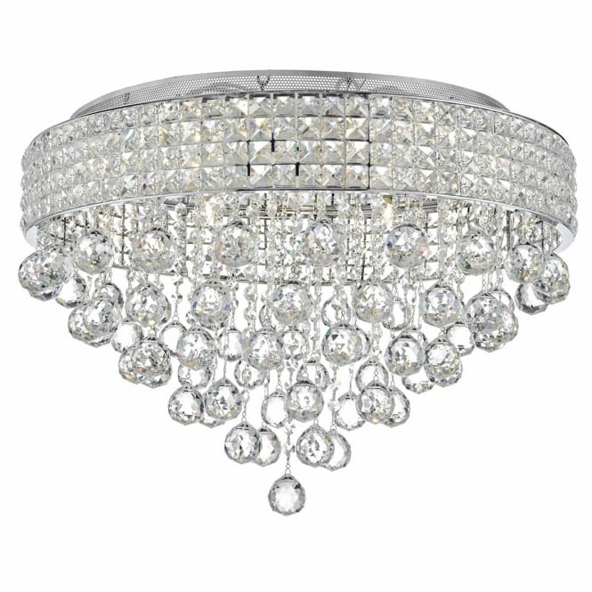 The Lighting Book MATRIX decorative chrome and crystal 9 light flush ceiling light