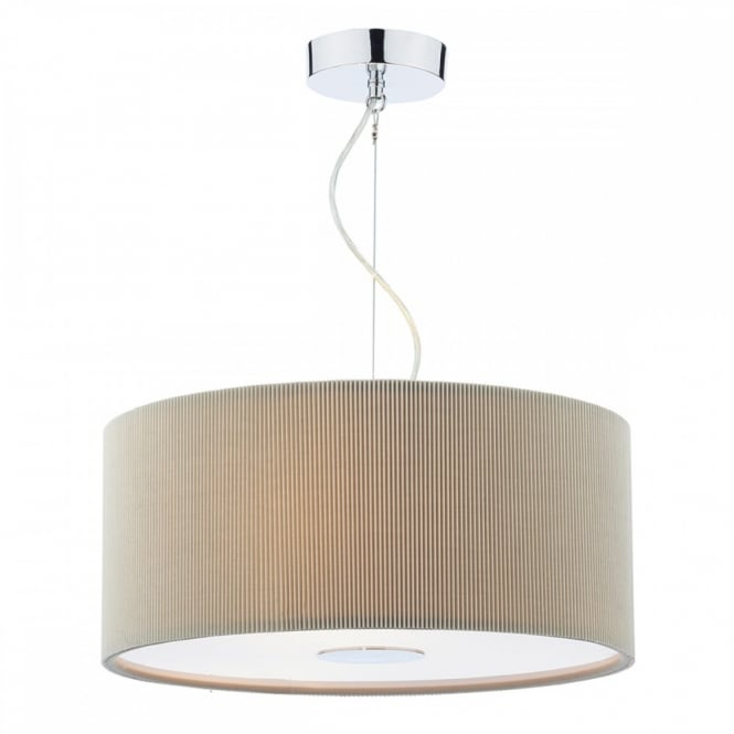 The Lighting Book MAURICE contemporary micro pleat putty coloured pendant with diffuser