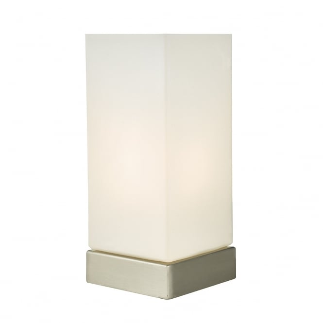 MAX satin nickel touch lamp with opal glass