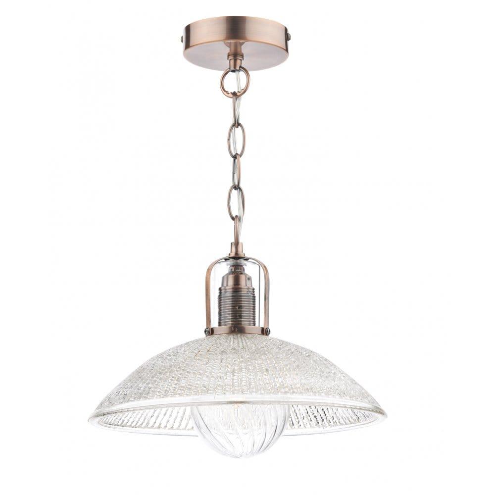 decorative retro ceiling pendant in copper with glass