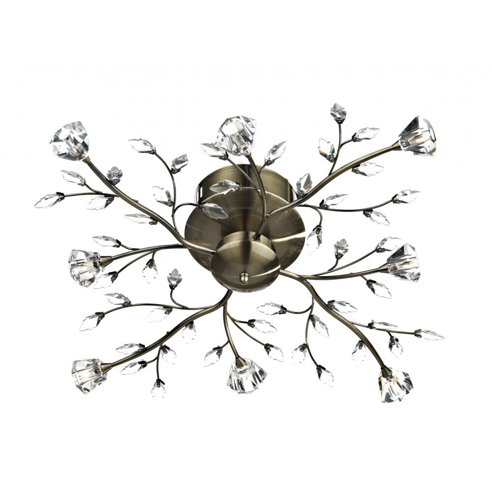 Antique Brass Amp Crystal Floral Light For Low Ceilings