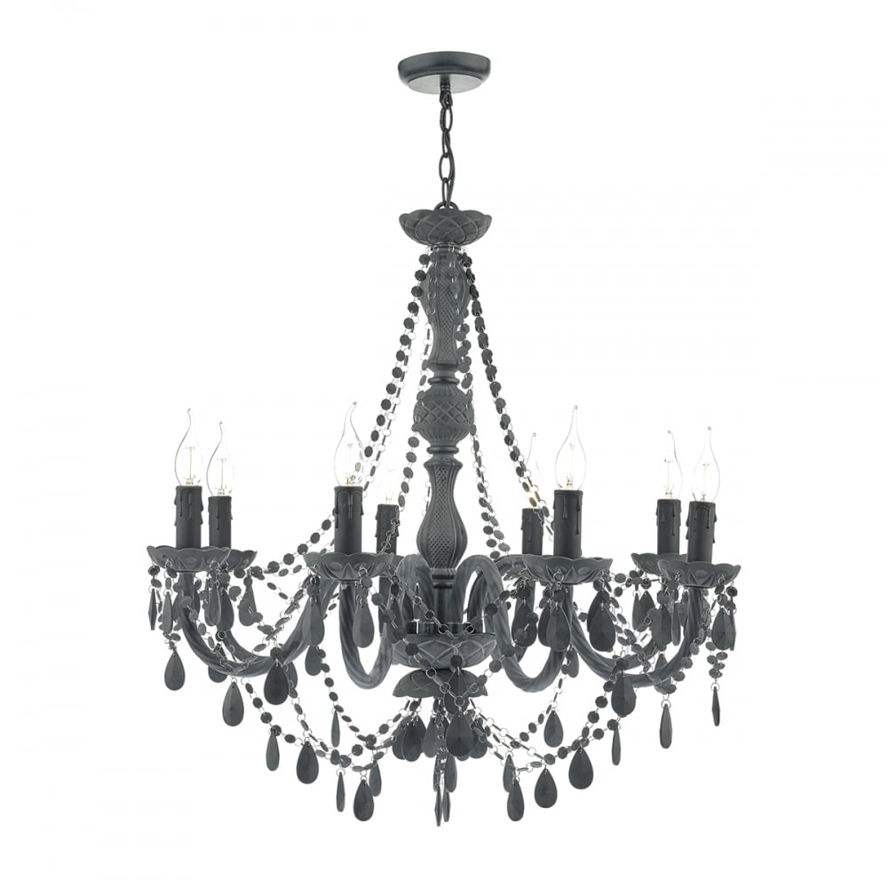 decorative traditional 8 light chandelier in matte grey finish