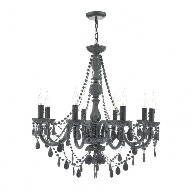 MEREDITH traditional matte grey 8 light chandelier