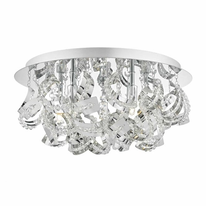 The Lighting Book MEZEN 5 light flush ceiling light in chrome with crystal beads