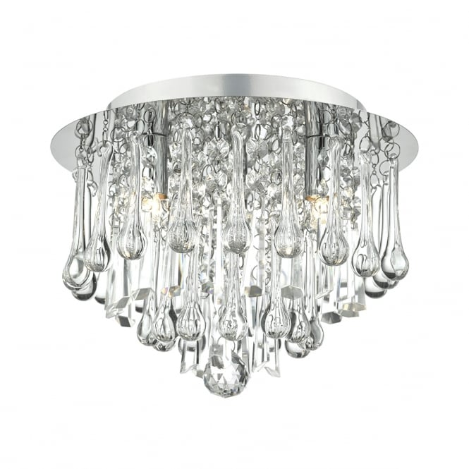 The Lighting Book MICHAELA decorative chrome and faceted glass flush ceiling light