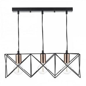 The Lighting Book MIDI contemporary matt black 3 light ceiling bar pendant