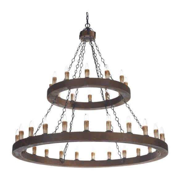 Chandelier Lighting Sale Uk: Rustic Candle Chandelier, Wooden Finish Frame. Double