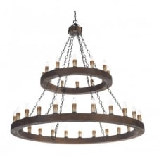 MINSTREL dark wood pendant chandelier 36lt 2 tier