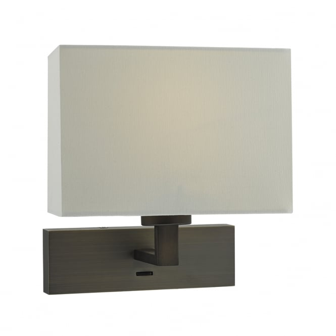 MODENA rectangular bronze wall light with ivory shade