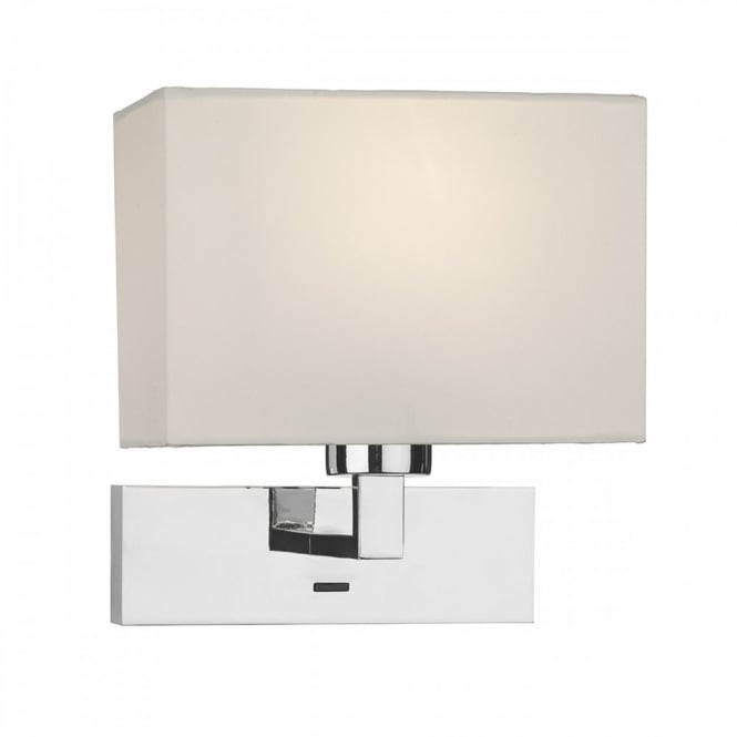 The Lighting Book MODENA wall light ideal for creating hotel style bedrooms. Chrome switched light with ivory shade.