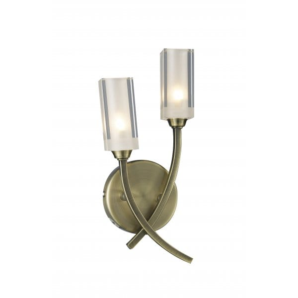 Morgan Compact Antique Brass Wall Light with 2 Glass Shades
