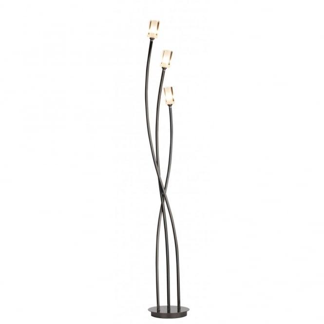 Modern black chrome floor standing lamp with 3 halogen bulbs morgan modern black chrome floor lamp aloadofball Choice Image