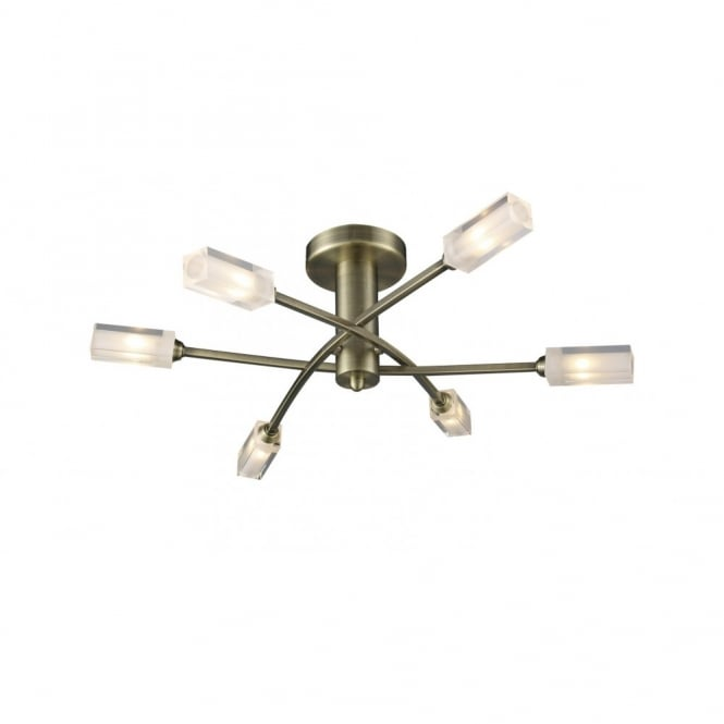 The Lighting Book MORGAN semi-flush antique brass light for low ceiling
