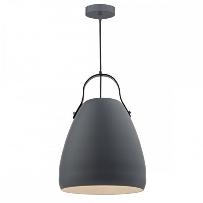 The Lighting Book MOVO single matt grey ceiling pendant with leather strap detail