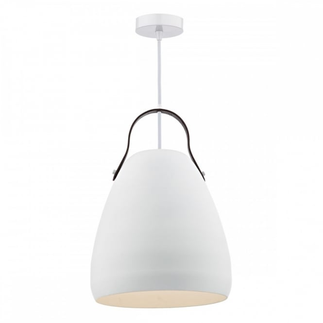 The Lighting Book MOVO single matt white ceiling pendant with leather strap detail