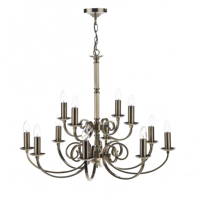 MURRAY traditional 12 light dual mount antique brass ceiling light