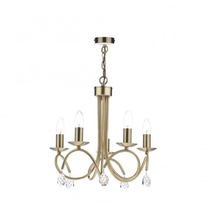 The Lighting Book NADINE 5 light decorative antique brass ceiling pendant