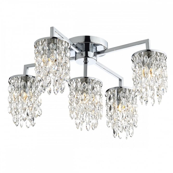NIAGRA contemporary decorative flush 5 light ceiling light in chrome