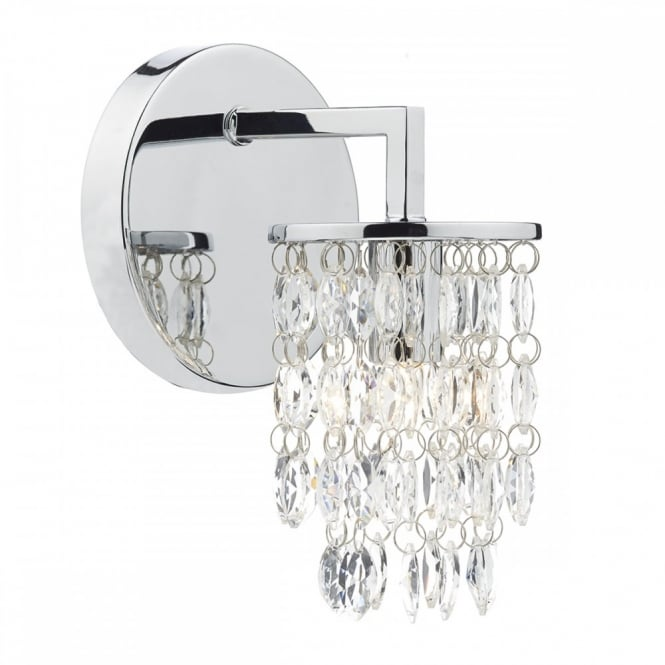 The Lighting Book NIAGRA contemporary decorative wall light in chrome with crystal droplets
