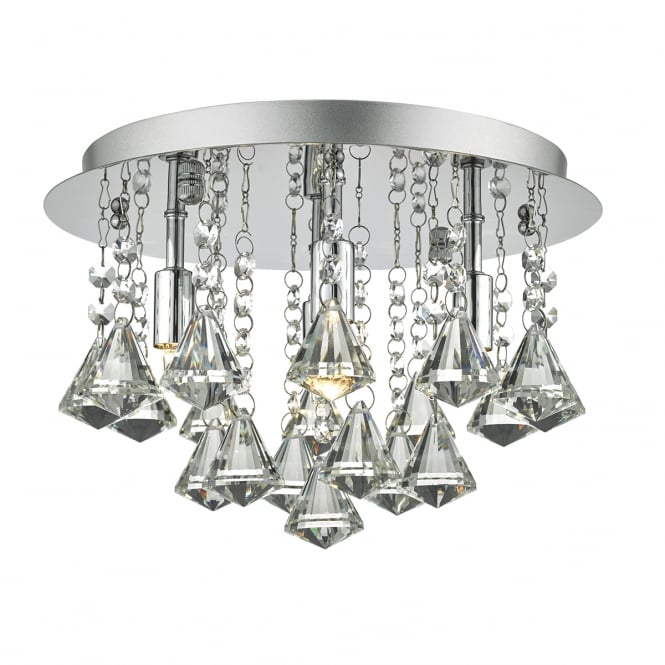 NIKO decorative 4 light flush chrome and faceted crystal ceiling light