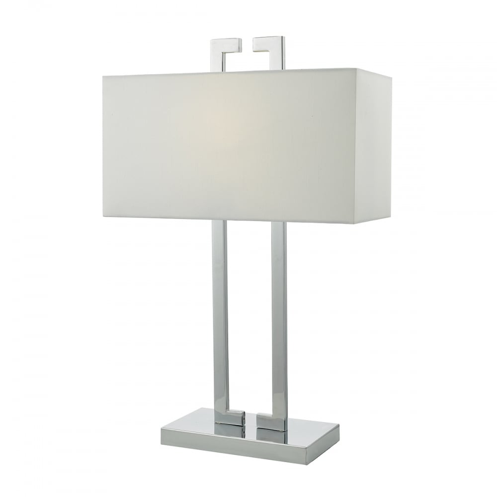 Contemporary polished chrome table lamp with white shade modern chrome table lamp with white shade aloadofball Images