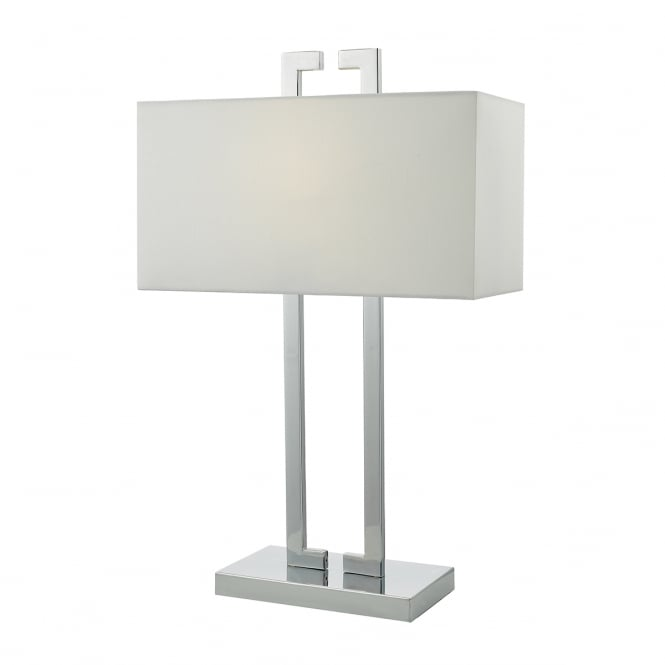 NILE polished chrome table lamp with ivory shade