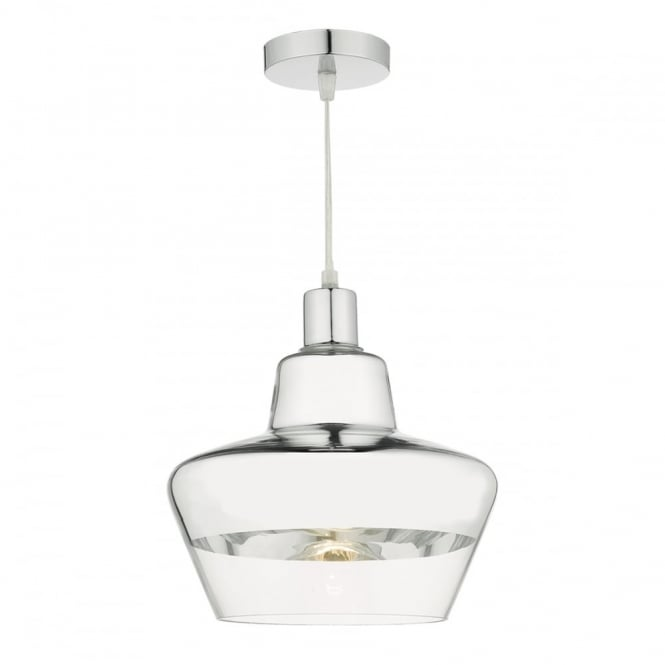 The Lighting Book NISBET chrome and clear glass easy fit pendant shade