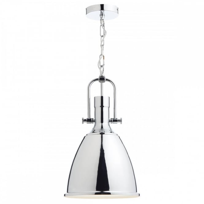 The Lighting Book NOLAN industrial style polished chrome ceiling pendant