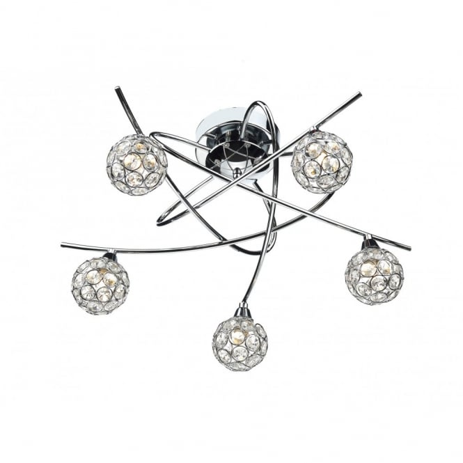 The Lighting Book NUCLEUS polished chrome & crystal flush ceiling light 5lt