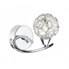 NUCLEUS polished chrome wall light with crystal shade