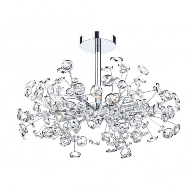 OBEROI decorative 6 light semi flush ceiling light