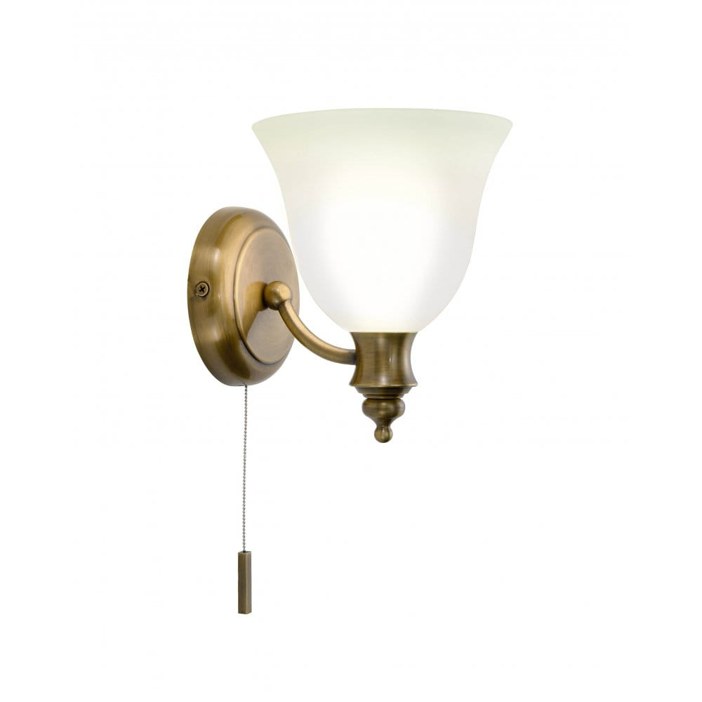Traditional Antique Brass Bathroom Wall Light IP44 Zone 1