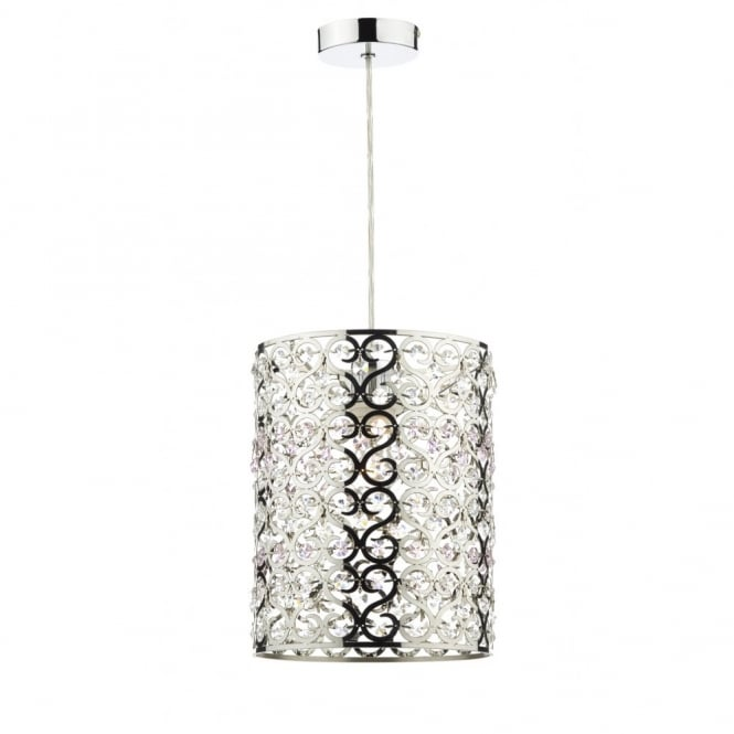 The Lighting Book OCTAGON chrome patterned non electric pendant with pink & clear crystal bead decor
