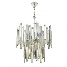 gold tone crystal ceiling pendant with nickel frame