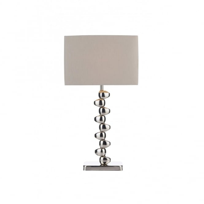 OFFSET polished chrome table lamp with shade