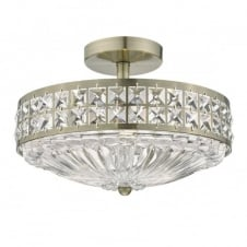OLONA 3 light semi flush antique brass and clear crystal ceiling light