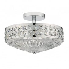 OLONA 3 light semi flush polished chrome and clear crystal ceiling light