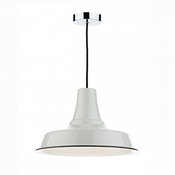 The Lighting Book OMAHA easy fit non electric retro shade in white with navy blue trim
