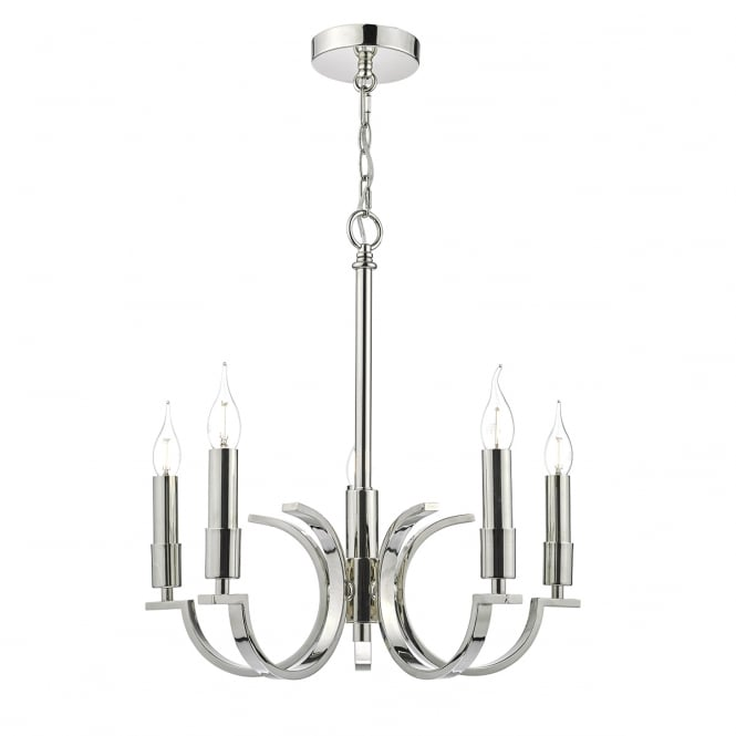 The Lighting Book ORFORD 5 light polished nickel ceiling pendant