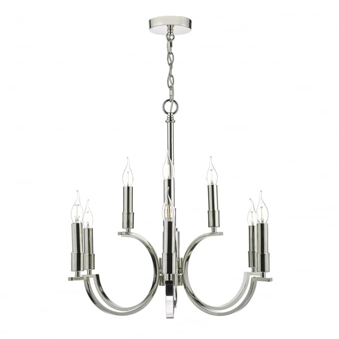The Lighting Book ORFORD 9 light polished nickel ceiling pendant