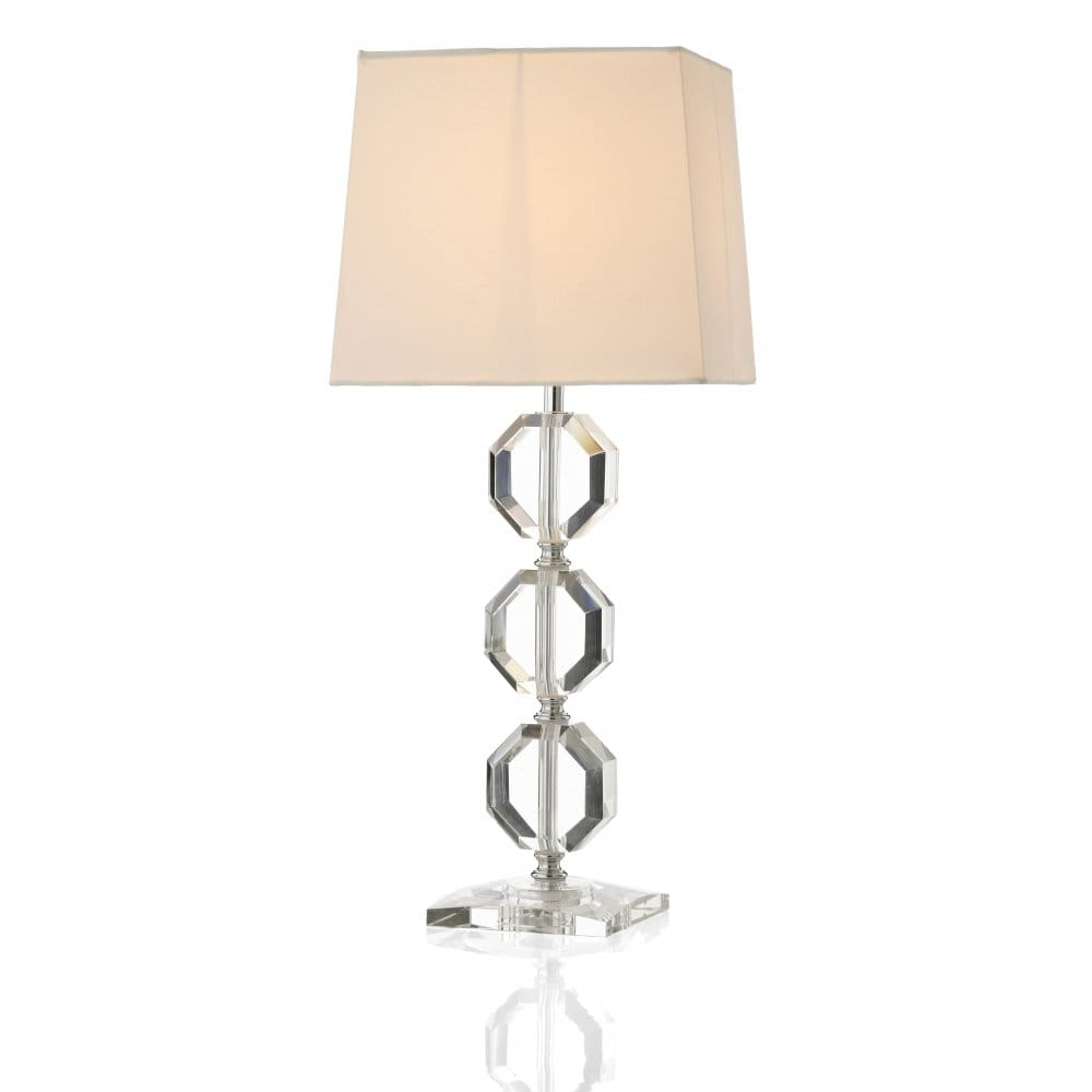 Crystal Glass Table Lamp With Cream Silk Shade Classic
