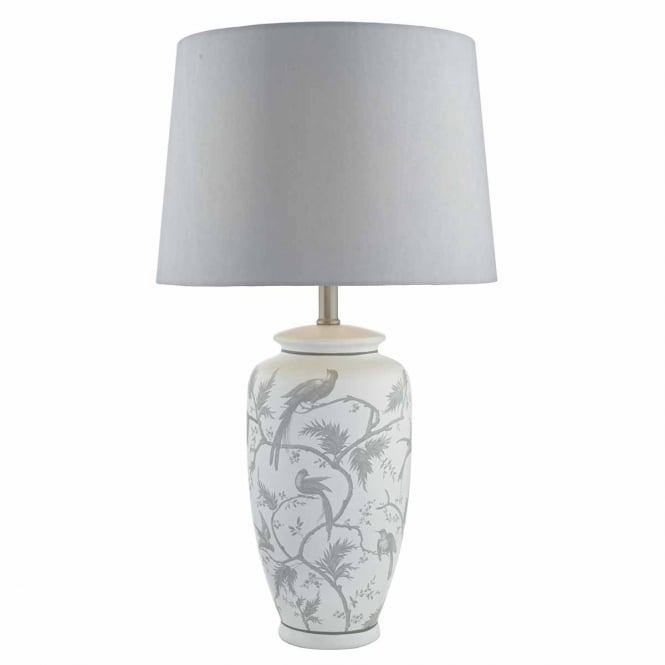 The Lighting Book ORNATE decorative grey ceramic table lamp with shade