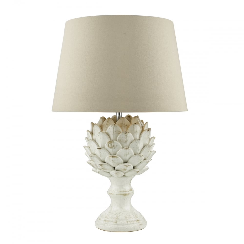Lovely Artichoke Design Table Lamp In Antique Cream With Shade