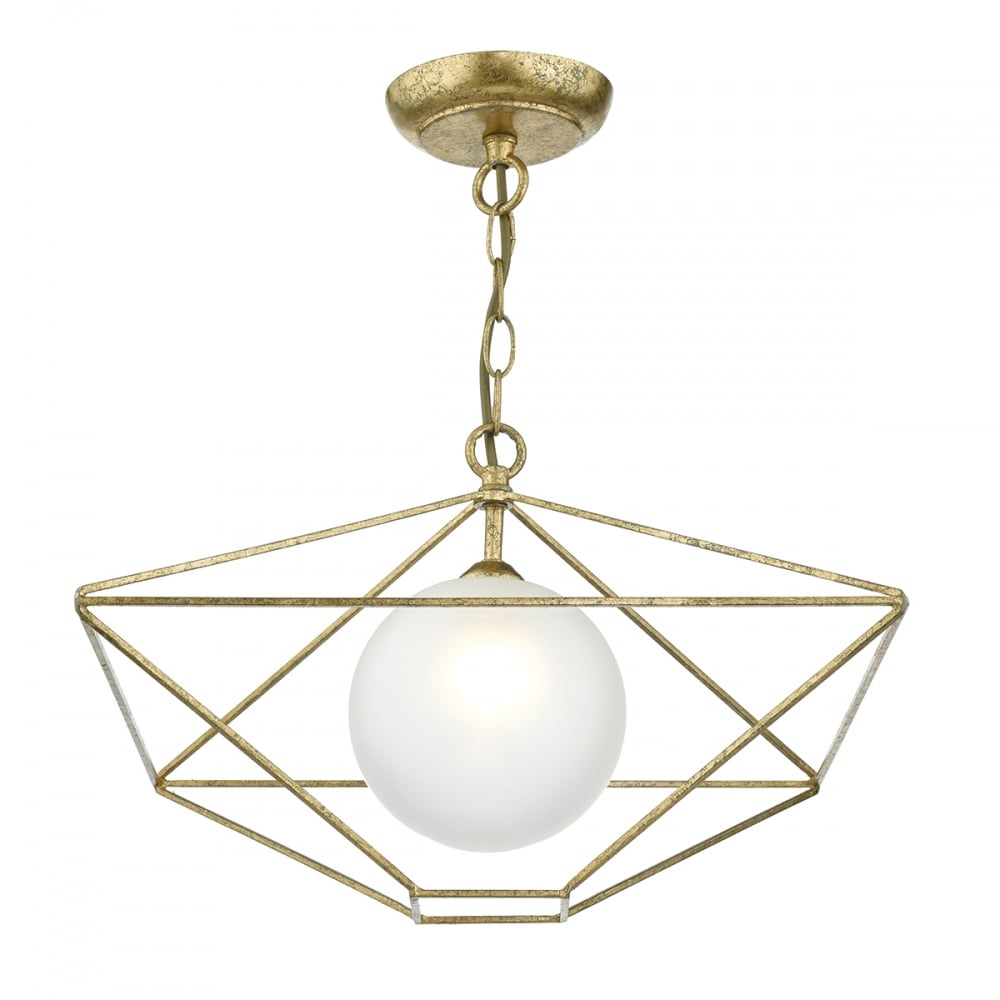Geometric Design Ceiling Pendant In Antique Gold With Opal