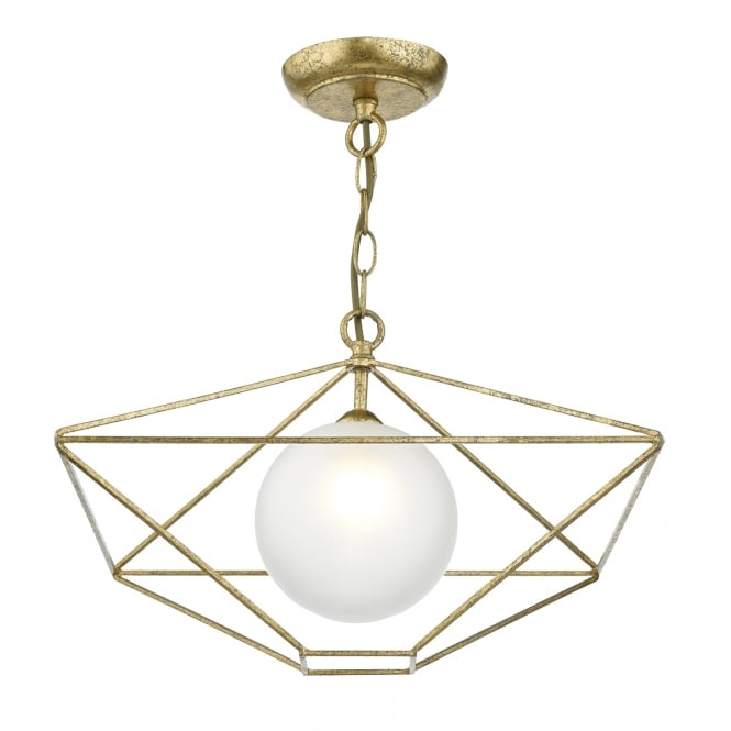 The Lighting Book ORSINI antique gold geometric pendant with opal glass globe